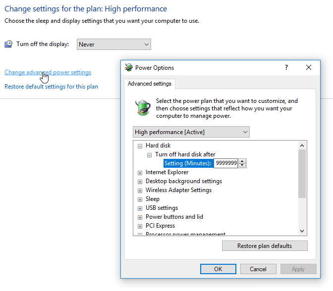 Windows 10 Power Settings: Never sleep