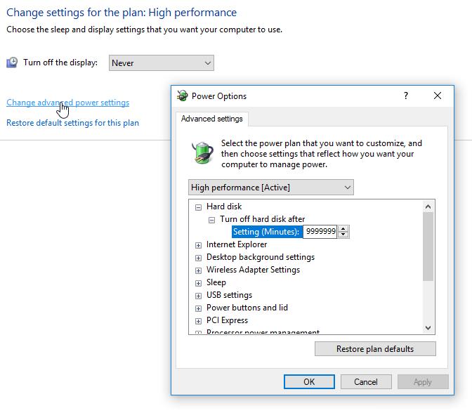 Windows 10 Power Settings: Never sleep
